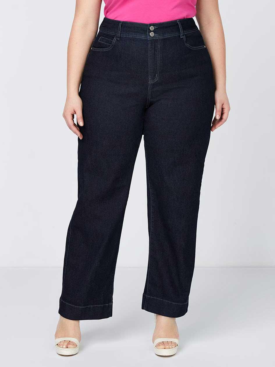 Petite Curvy Fit Wide Leg Trouser Jean - d/c JEANS