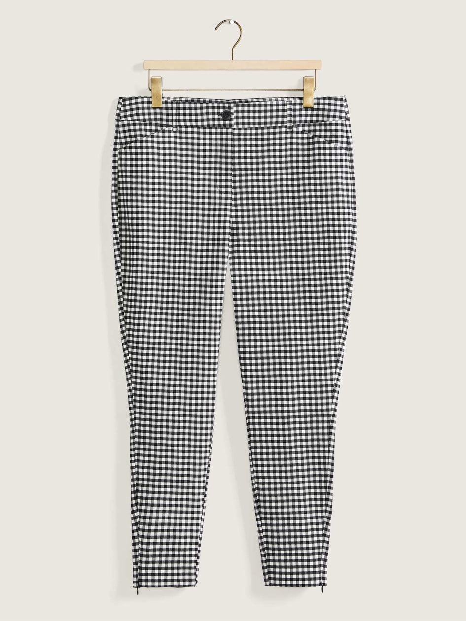 Gingham-Print Skinny Pants - Addition Elle