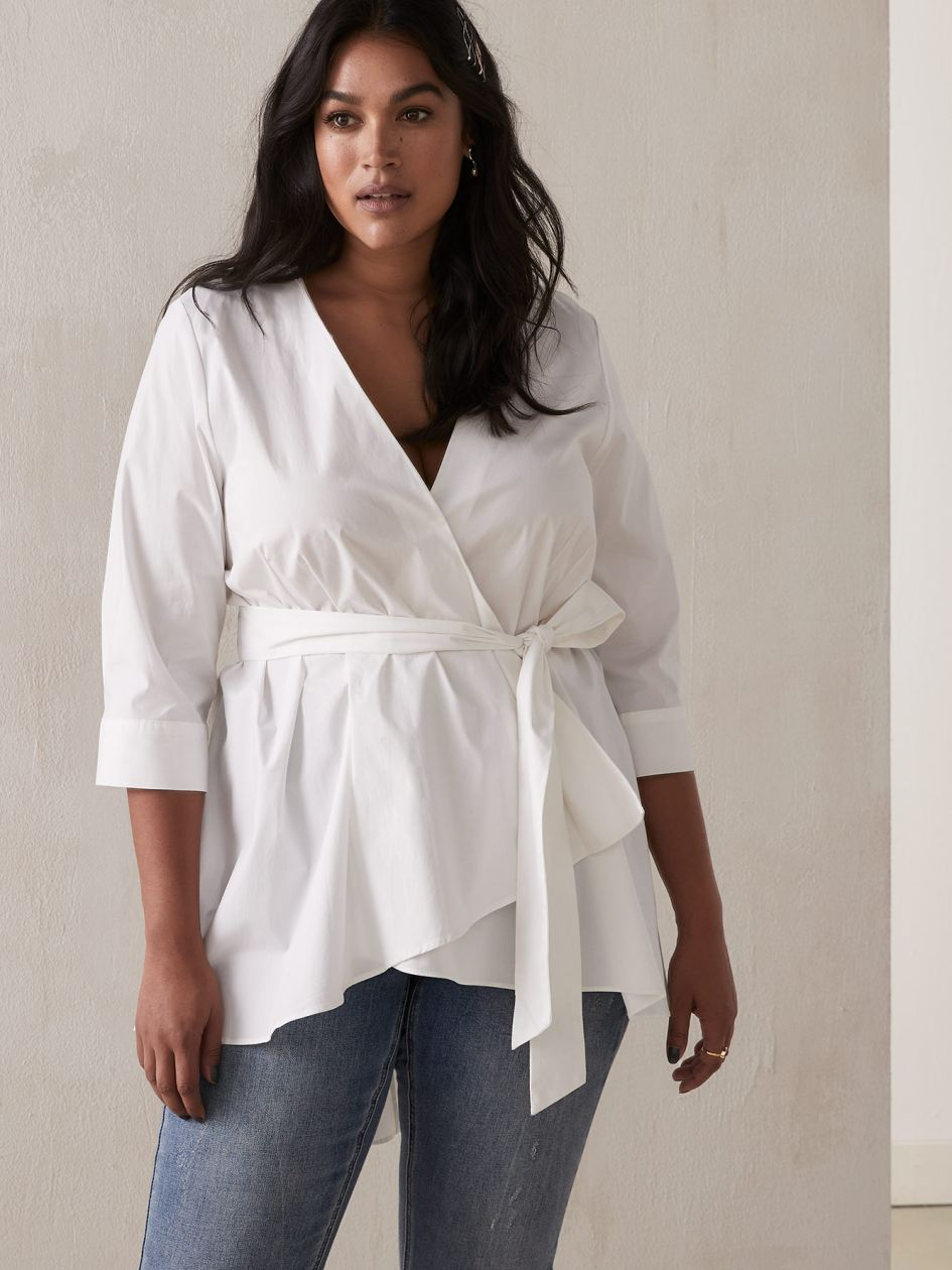 0034feabc Wrap Tunic Blouse with High-Low Hem