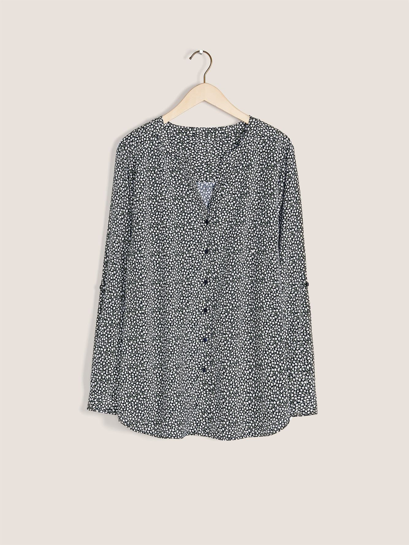 Button Front Long-Sleeve Blouse - In Every Story