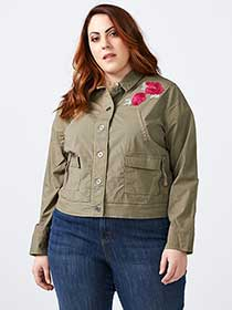 Twill Jacket with Floral Patches - d/C JEANS
