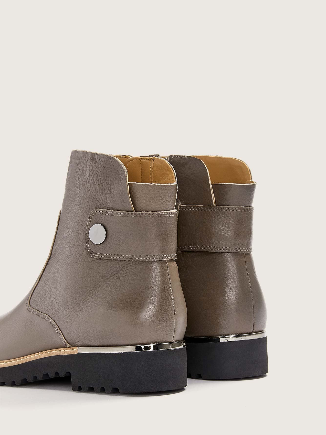 Wide Width Leather Ankle Bootie