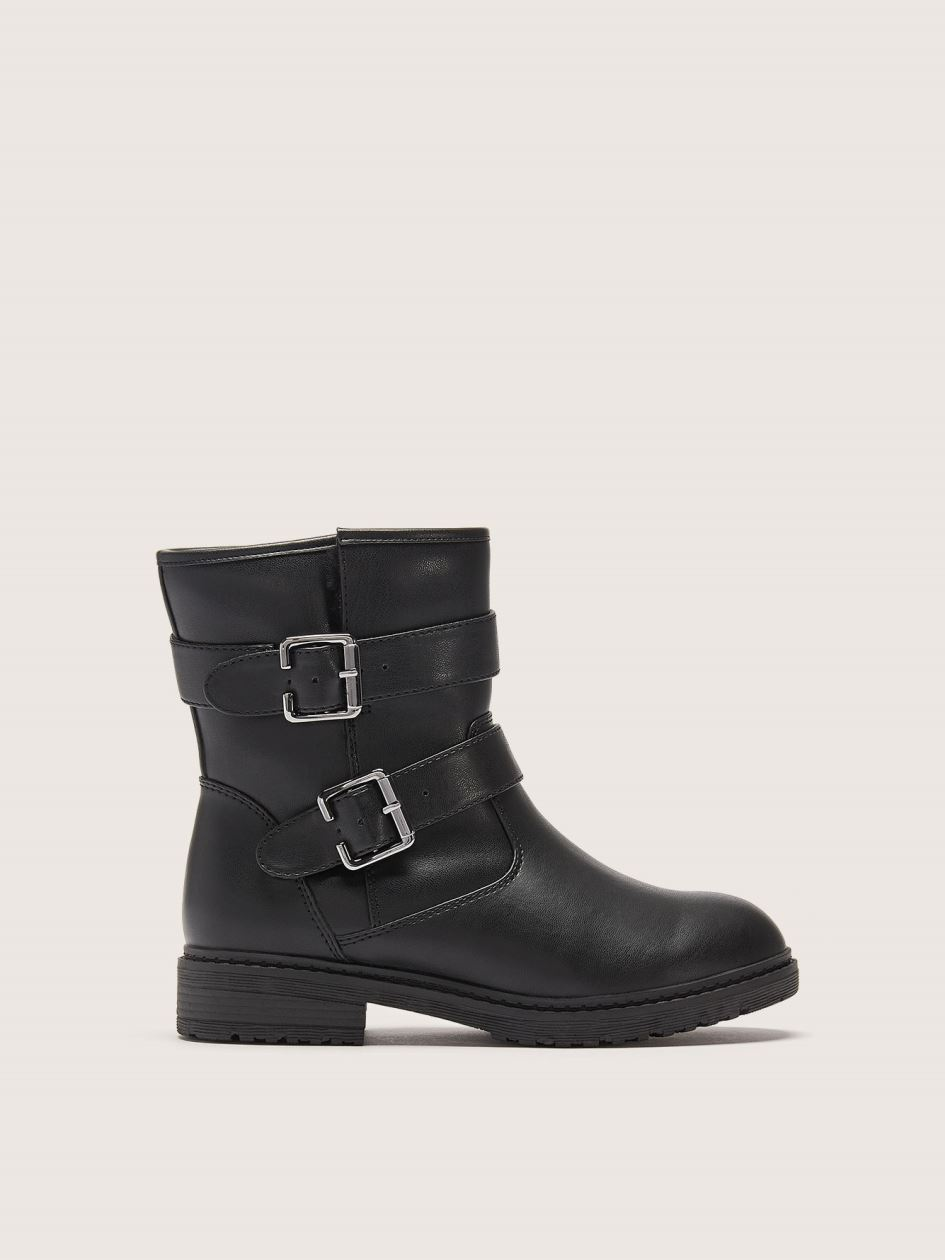 Wide Double Buckle Moto Bootie - Addition Elle