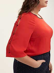 Elbow Sleeve Blouse with Rivets - In Every Story