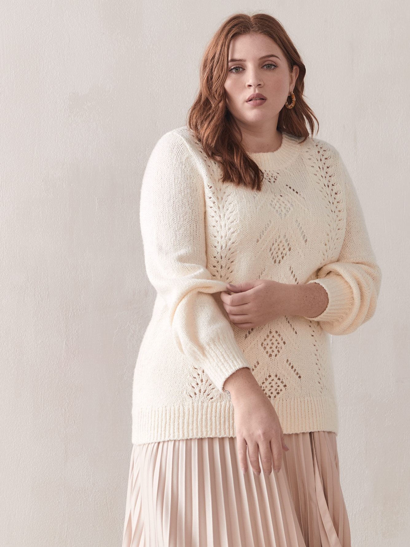 Balloon-Sleeve Pointelle Sweater - Addition Elle