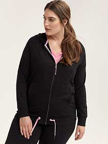 Plus Size Hooded Jacket with Drawstring - ActiveZone