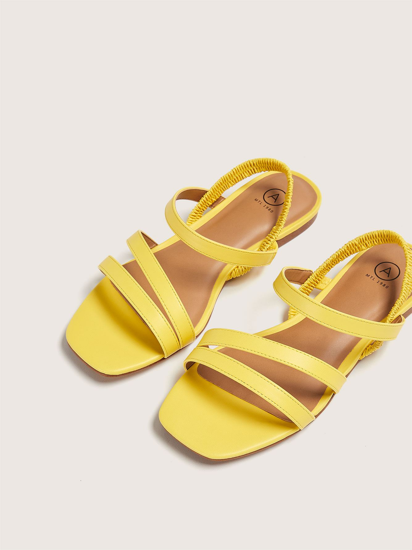 Wide Elastic Strap Flat Sandal - Addition Elle