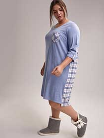 3/4 Sleeve Plaid Flannel Sleepshirt - ti Voglio