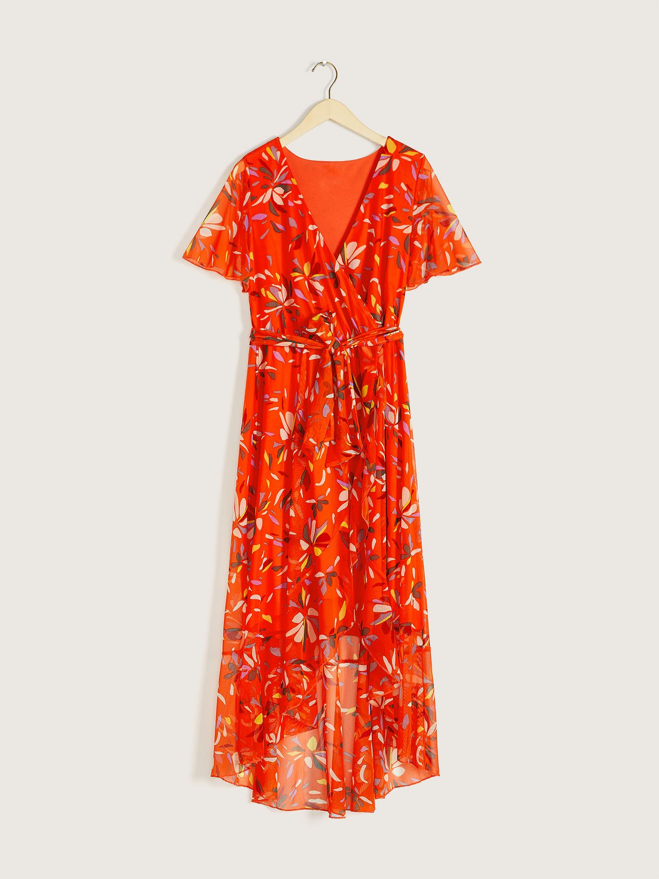 Printed Fit & Flare Wrap Dress - Addition Elle