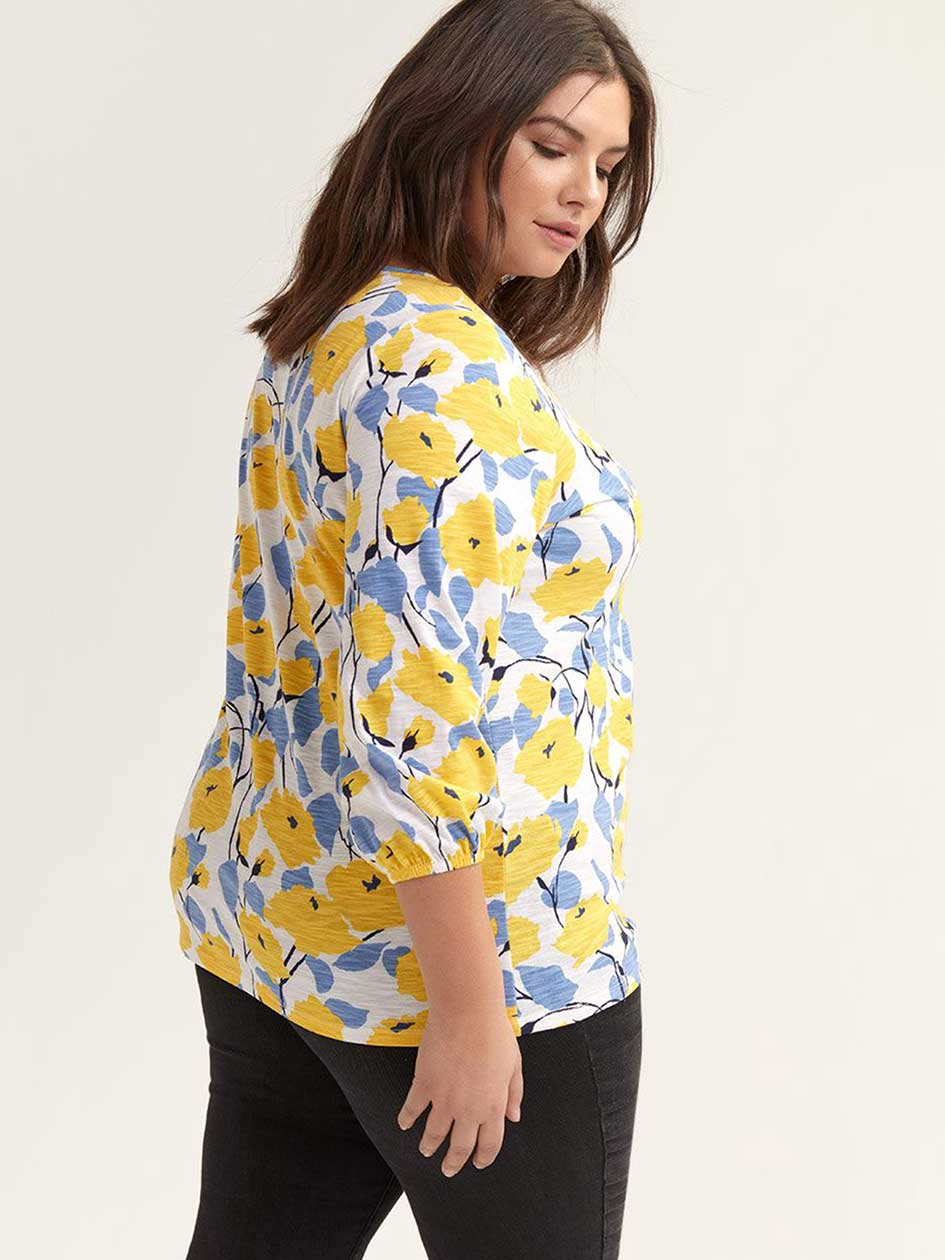 Printed Balloon Sleeve Top with Elastic Detail