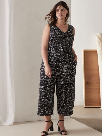 Sleeveless Jumpsuit with Smocked Waist