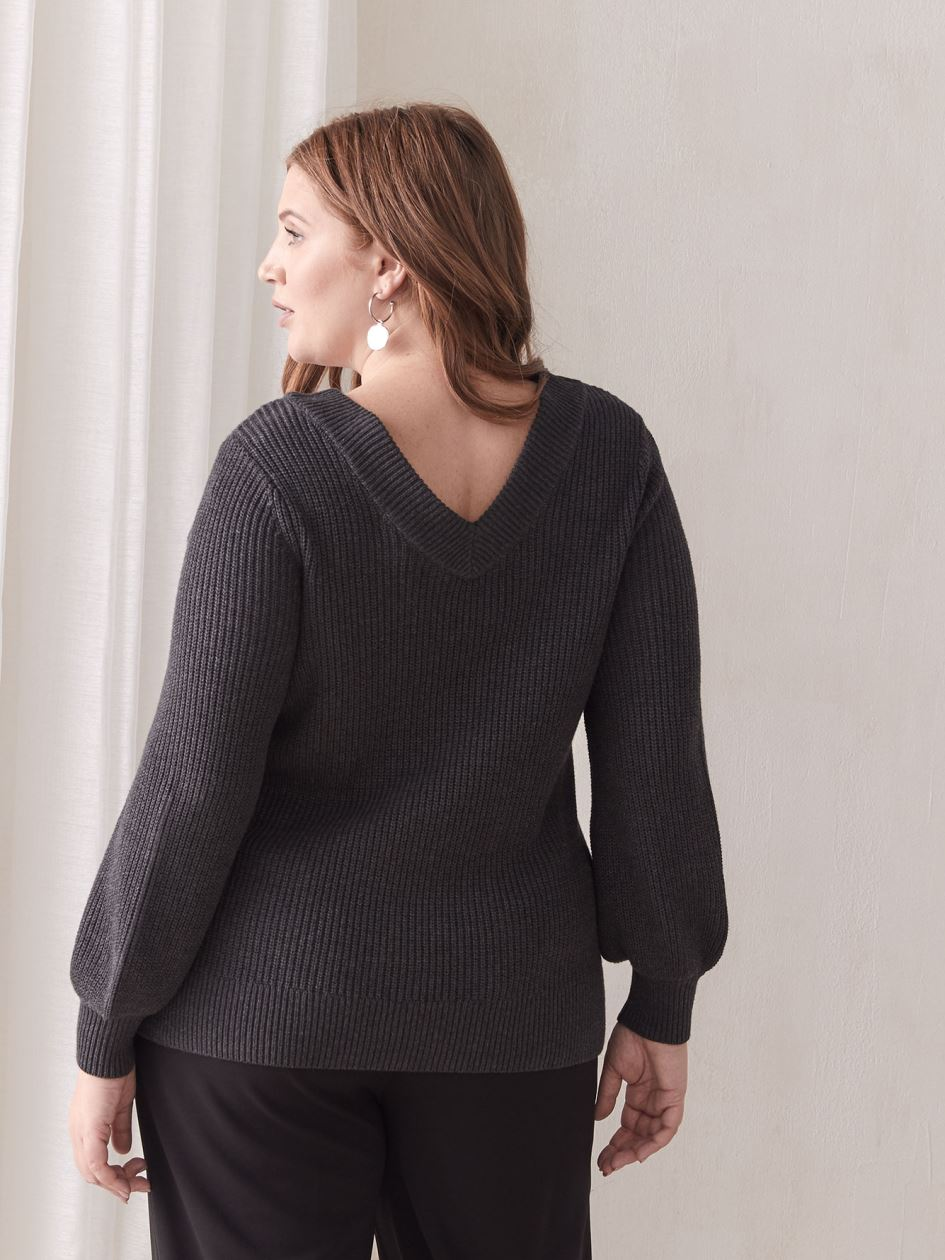 Balloon-Sleeve V-Neck Sweater - Addition Elle