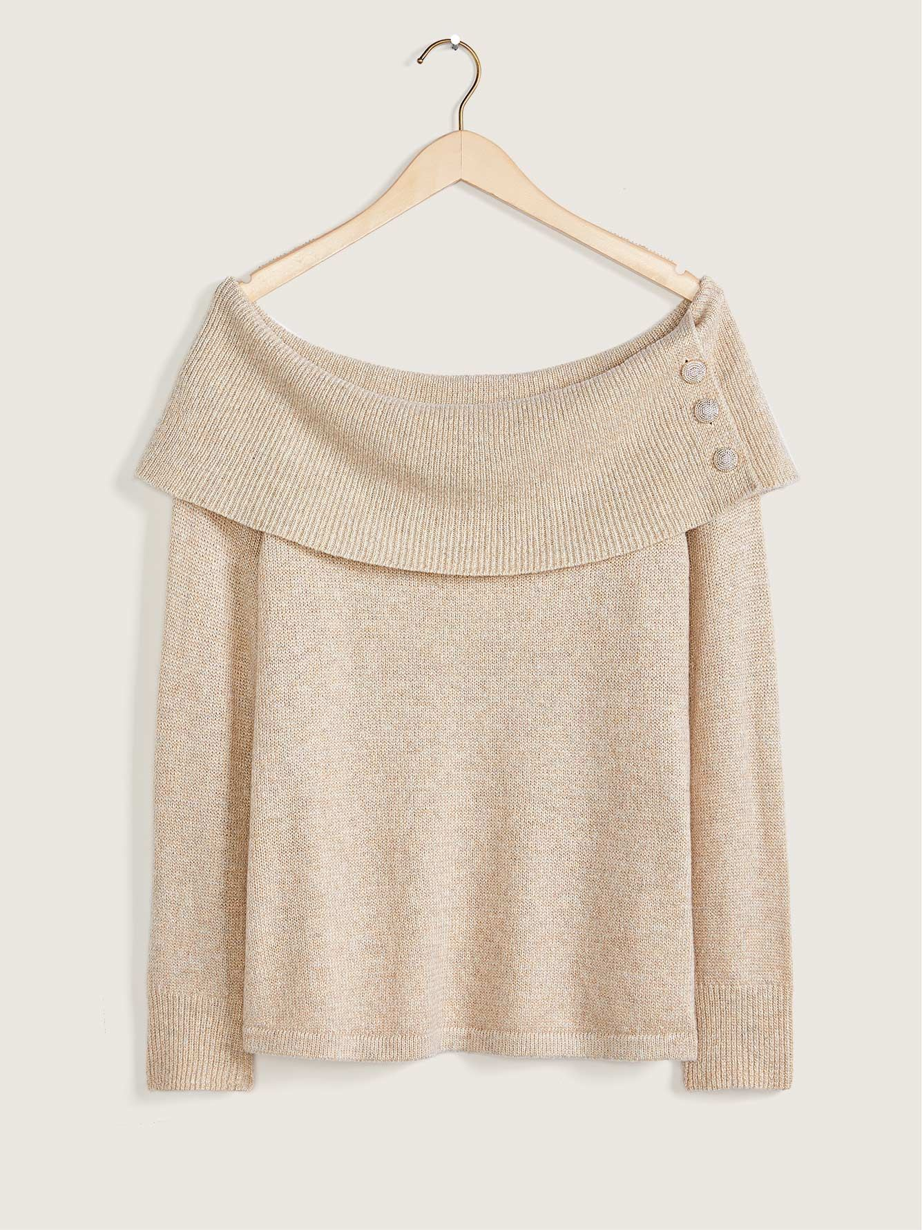 Off-Shoulder Sweater With Jewel Buttons - Addition Elle