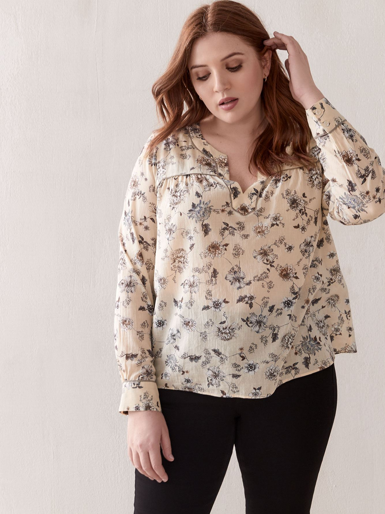 Split-Neck Floral Blouse - Addition Elle
