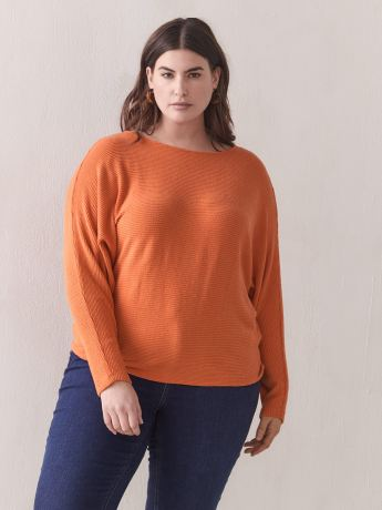 Ribbed Boat-Neck Top - Addition Elle