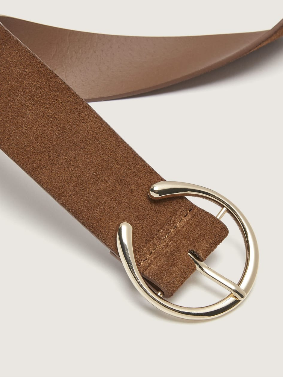 Suede Belt with Round Buckle