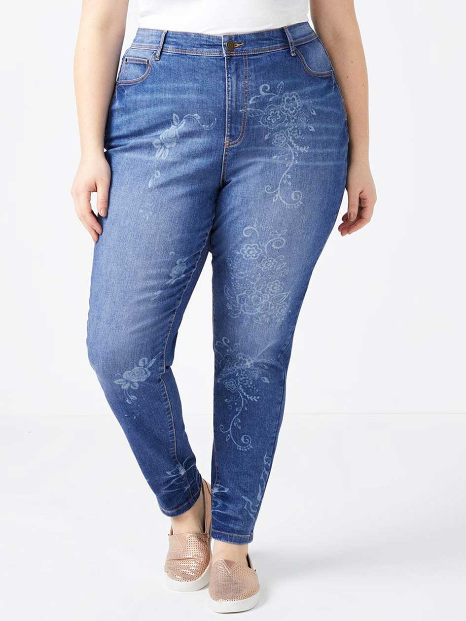 Curvy Fit Floral Skinny Jean - d/C JEANS