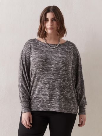 Long Dolman Sleeve Top With Boat Neck - Addition Elle
