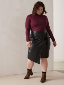 Faux-Leather Asymmetric Skirt - Addition Elle
