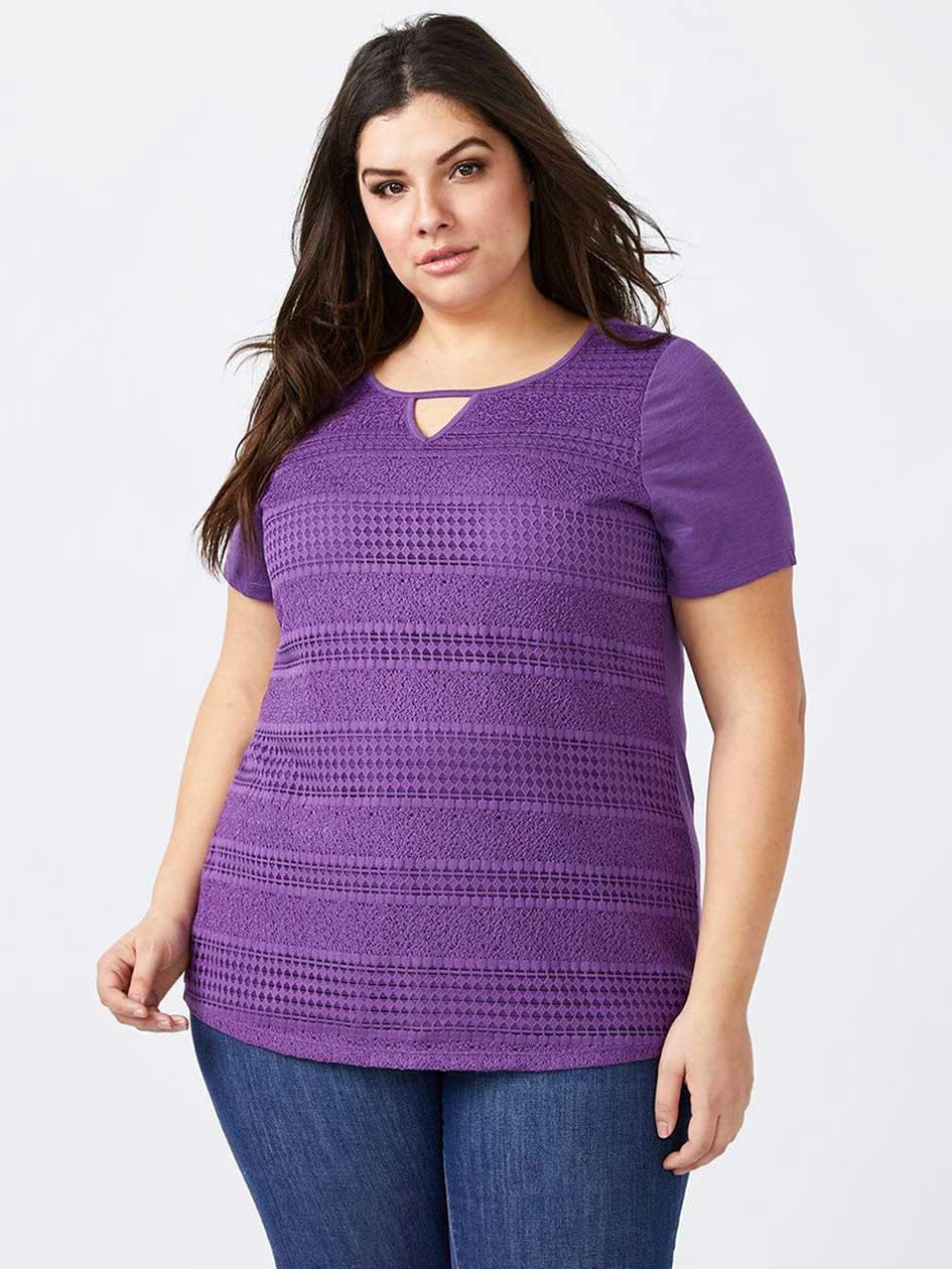 Curve Fit Lace Front T-Shirt - d/c JEANS