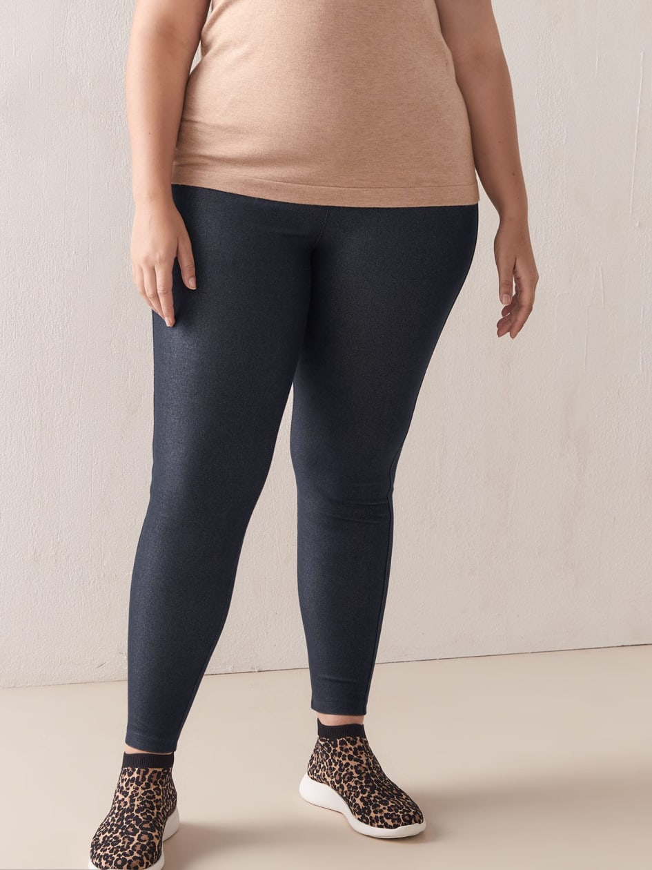 Solid Denim Leggings with Elastic Waistband - Addition Elle