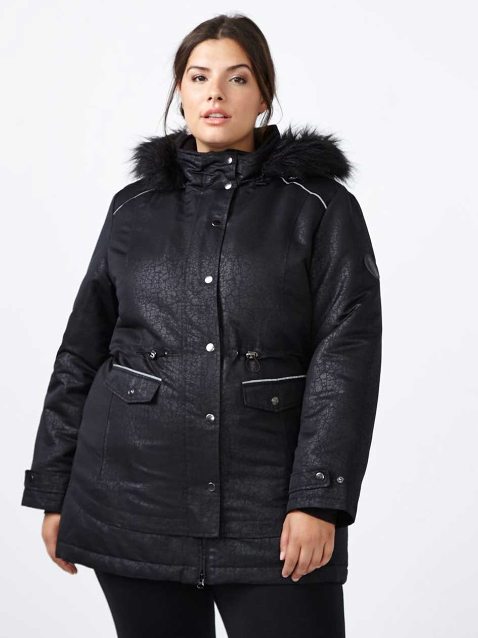 ActiveZone Winter Ski Jacket with Faux-Fur Hood