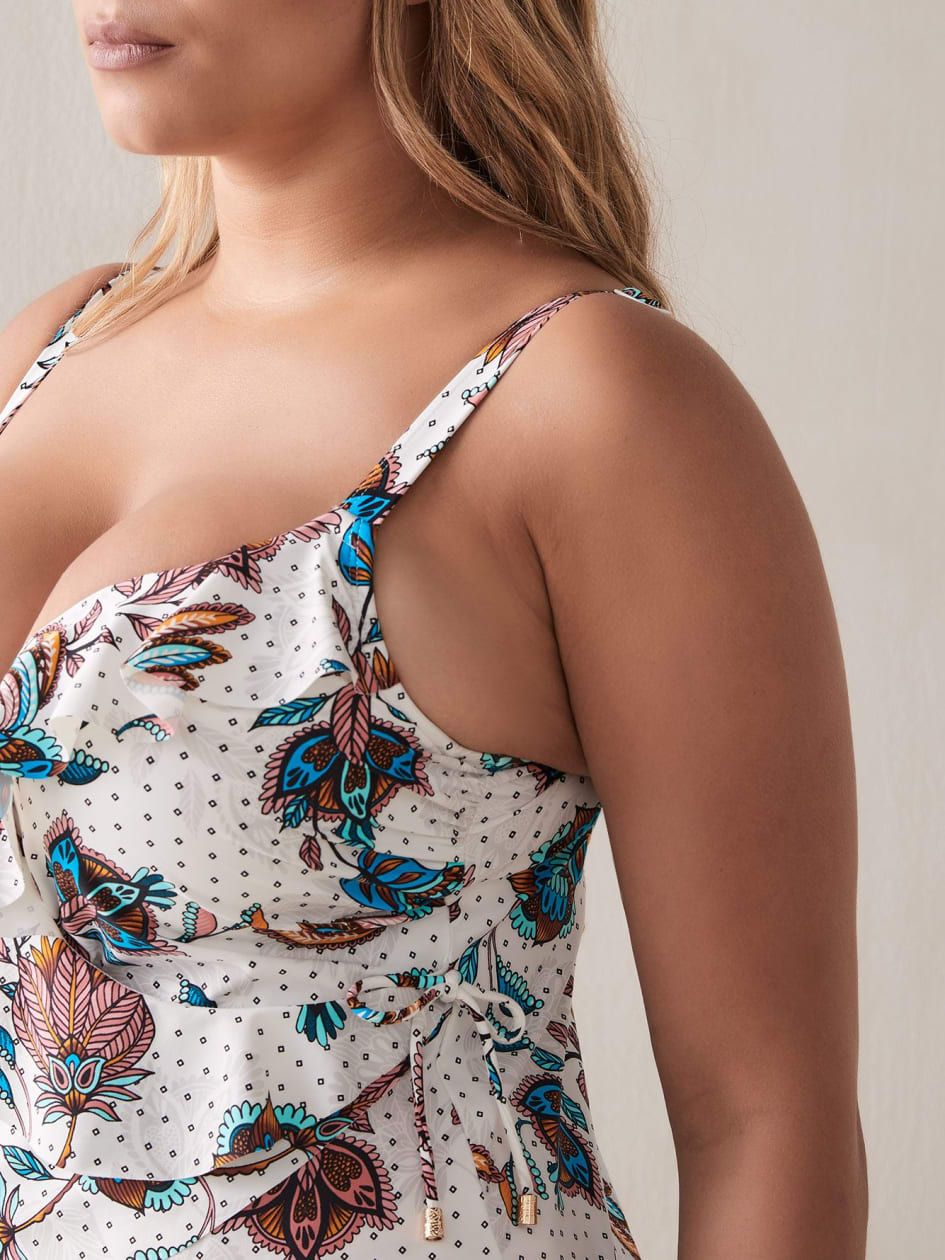 Printed Bra Fit Tankini Top with Tie - Addition Elle