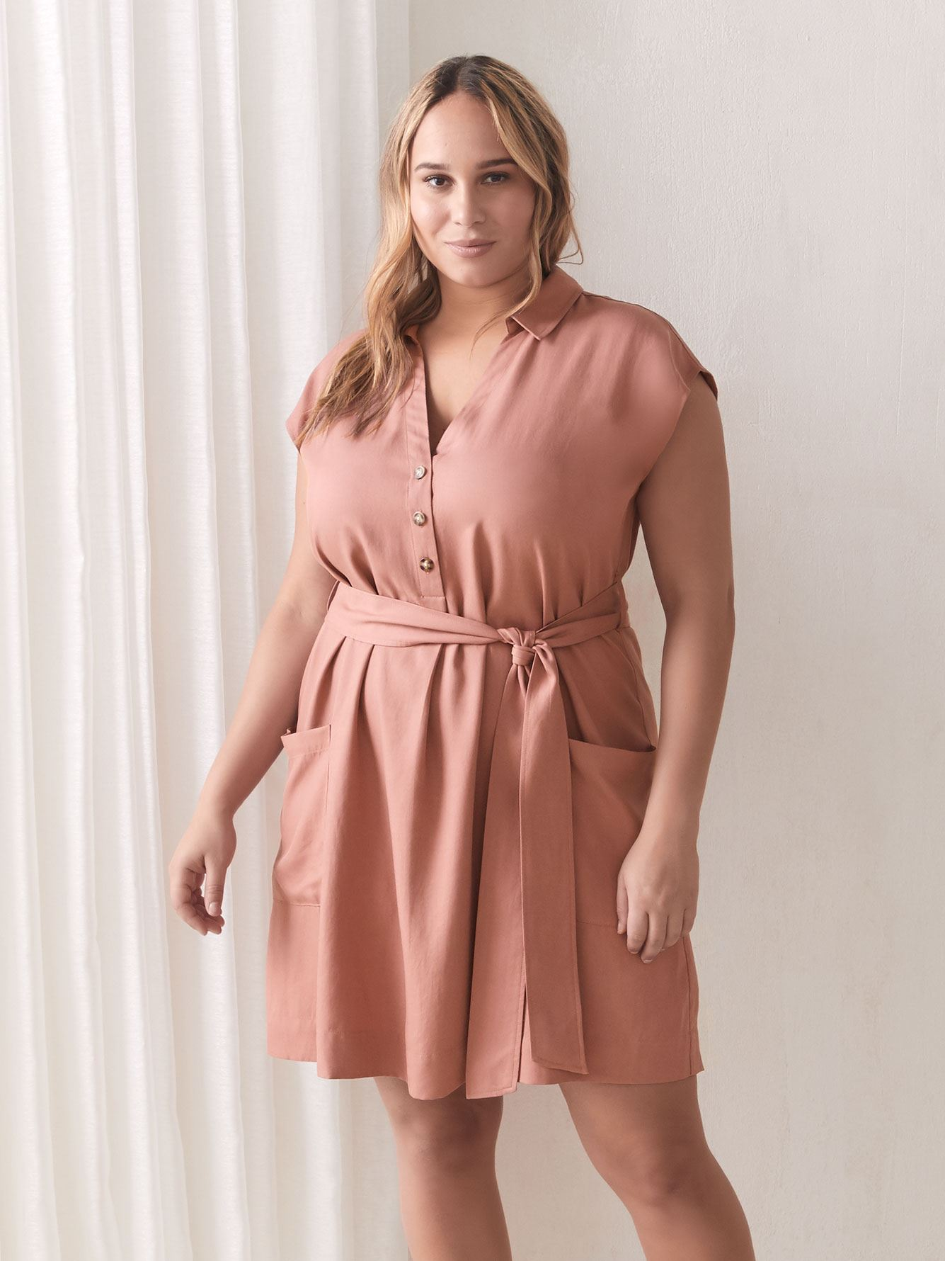 Solid Belted Dolman Sleeve Cupro Dress - Addition Elle