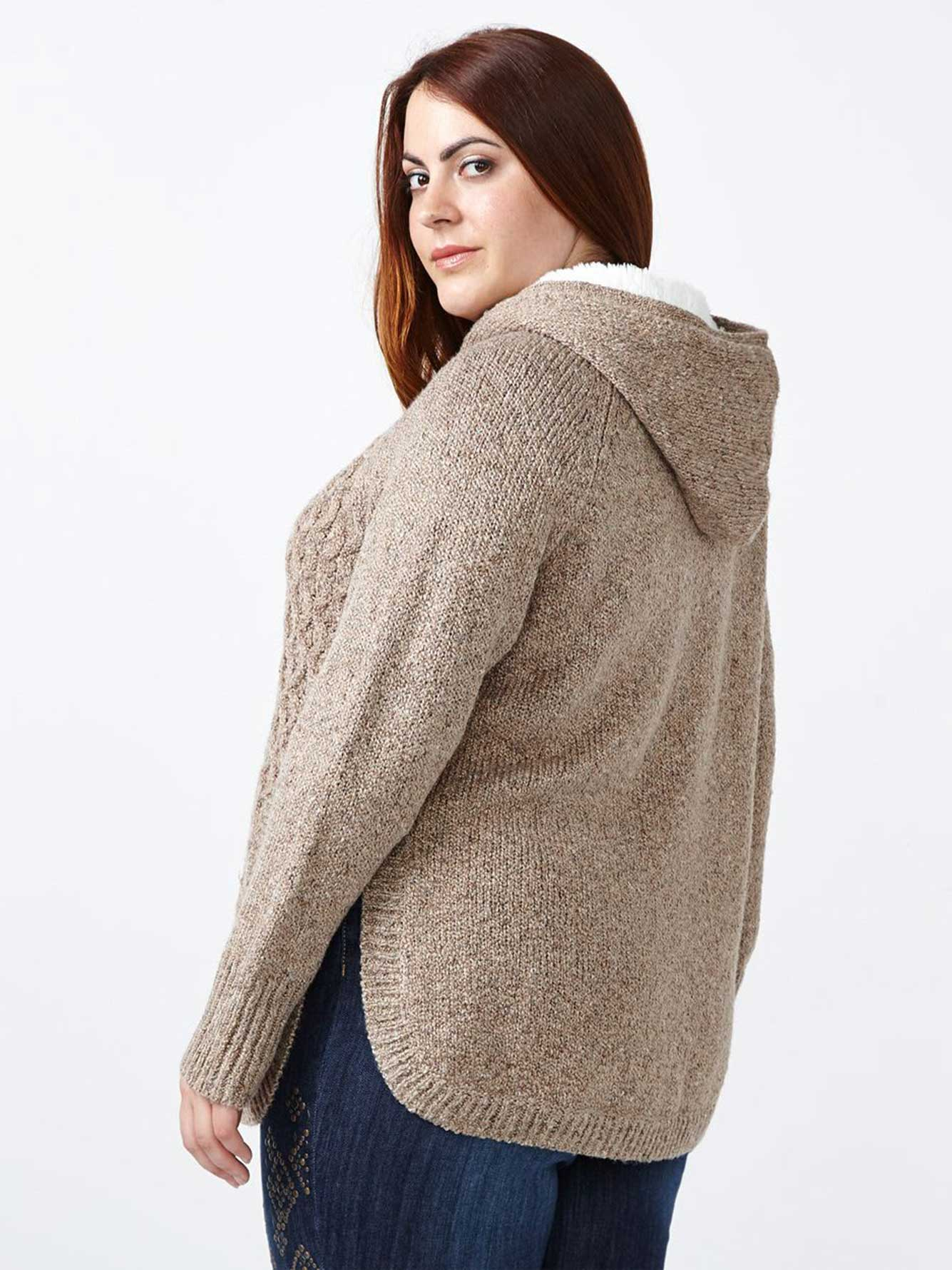 d/c JEANS Hooded Sweater with Sherpa Lining | Penningtons