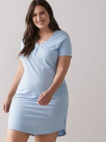 Marled and Dotted Short Sleeve Sleepshirt - ti Voglio