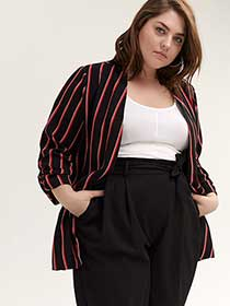 Striped Semi-Fitted Blazer with Sleeve Shirring - In Every Story