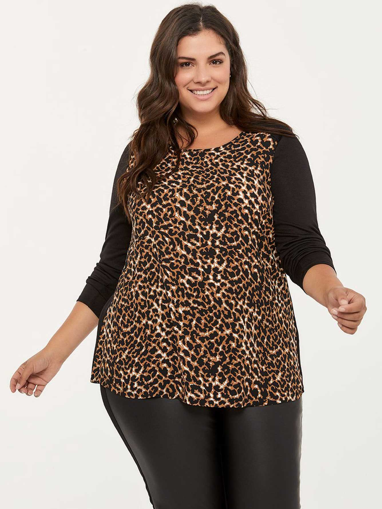e4aa85c6fedc Long Sleeve Leopard Print Top - In Every Story | Penningtons