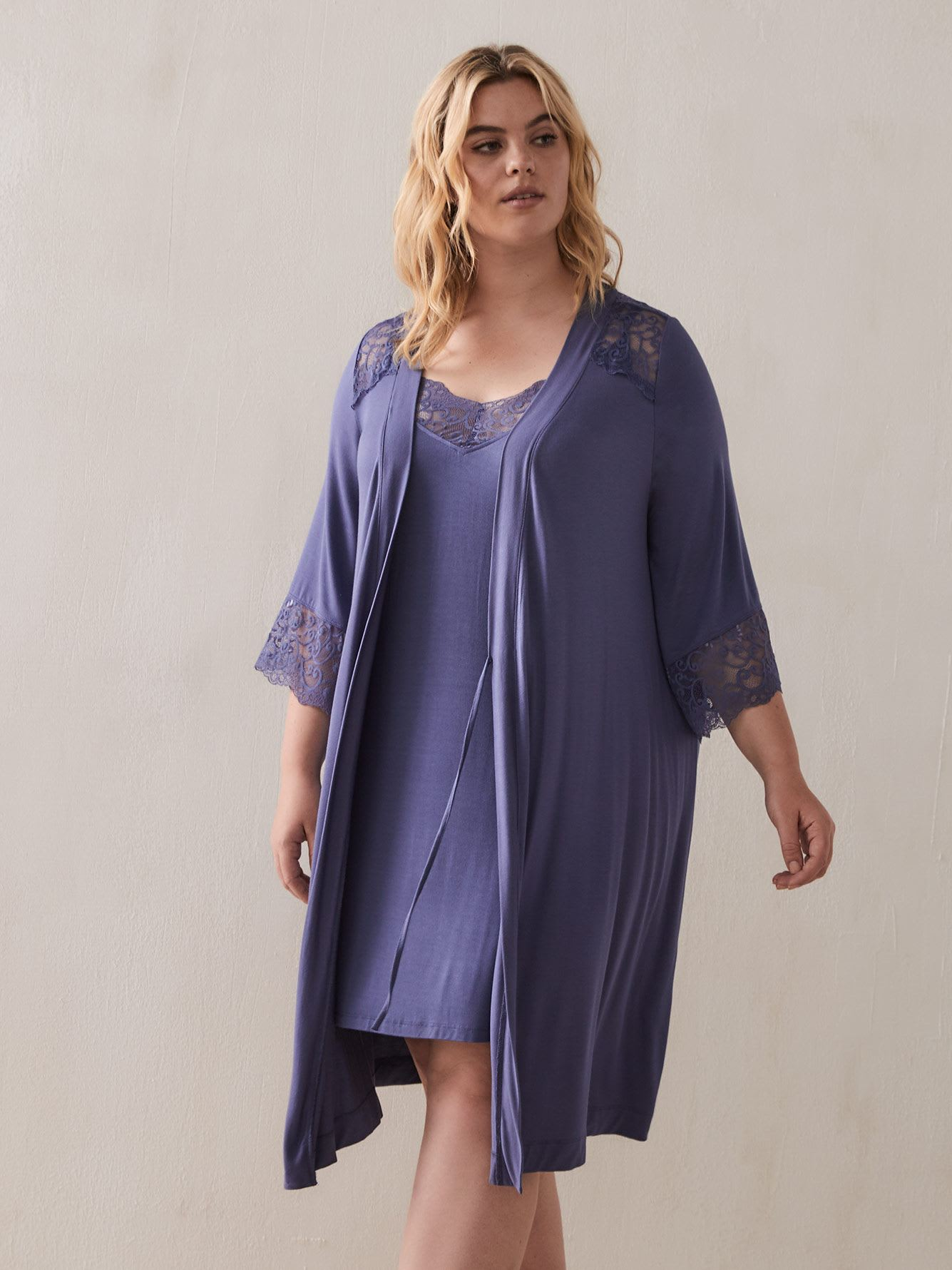 Elbow Sleeve Lounge Robe with Lace