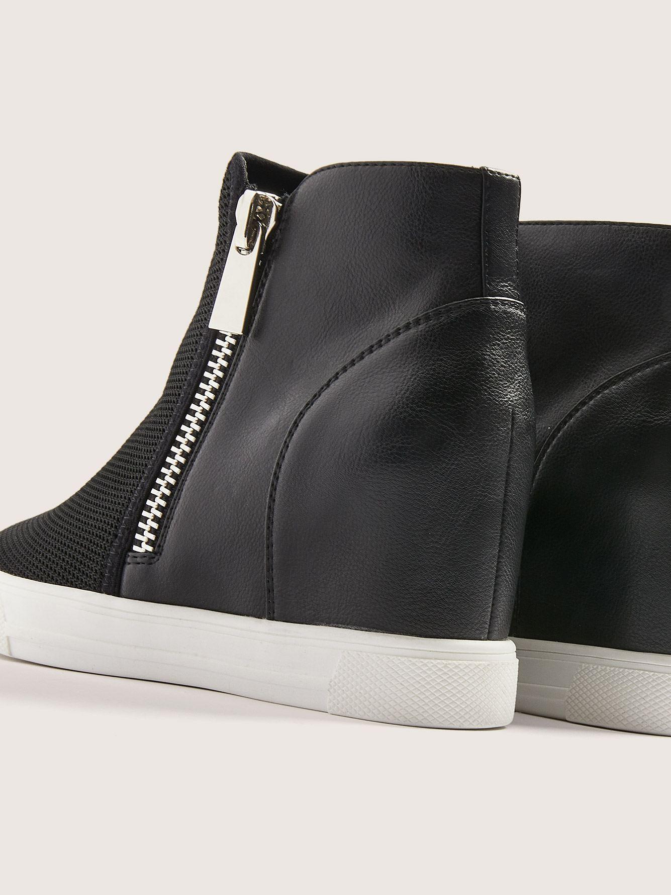 Side Zipper Wide Wedge Sneaker
