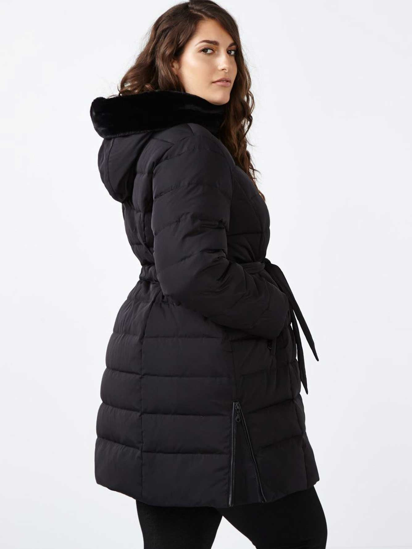 c783840ec68a Down Coat with Belt and Faux-Fur Hood