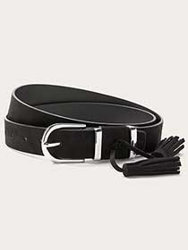 Faux-Suede Belt with Tassels