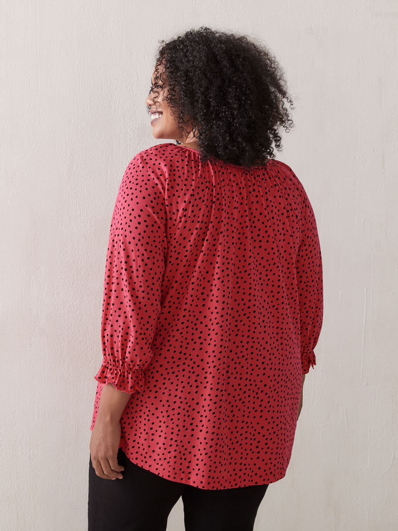 3/4 Balloon Sleeve Printed Top - In Every Story