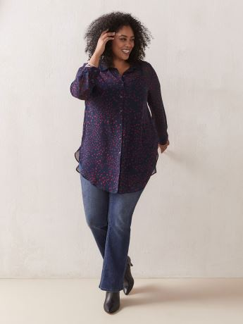 Woven Long Tunic Shirt Blouse - In Every Story