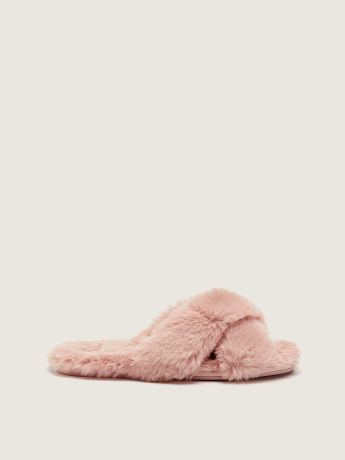 Faux-Fur Crossover Slippers - Addition Elle