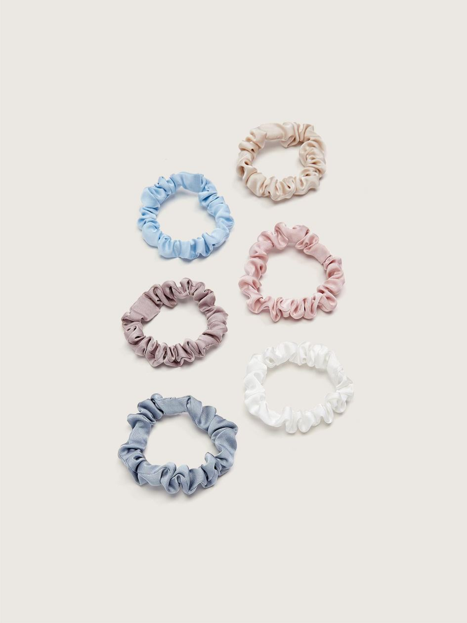 Thin Satin Hair Scrunchies, 6-Pack - Addition Elle