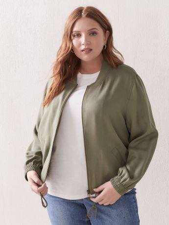 Solid Cropped Bomber Jacket - Addition Elle