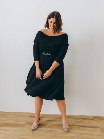 Off-Shoulder Midi-Length Dress - Addition Elle