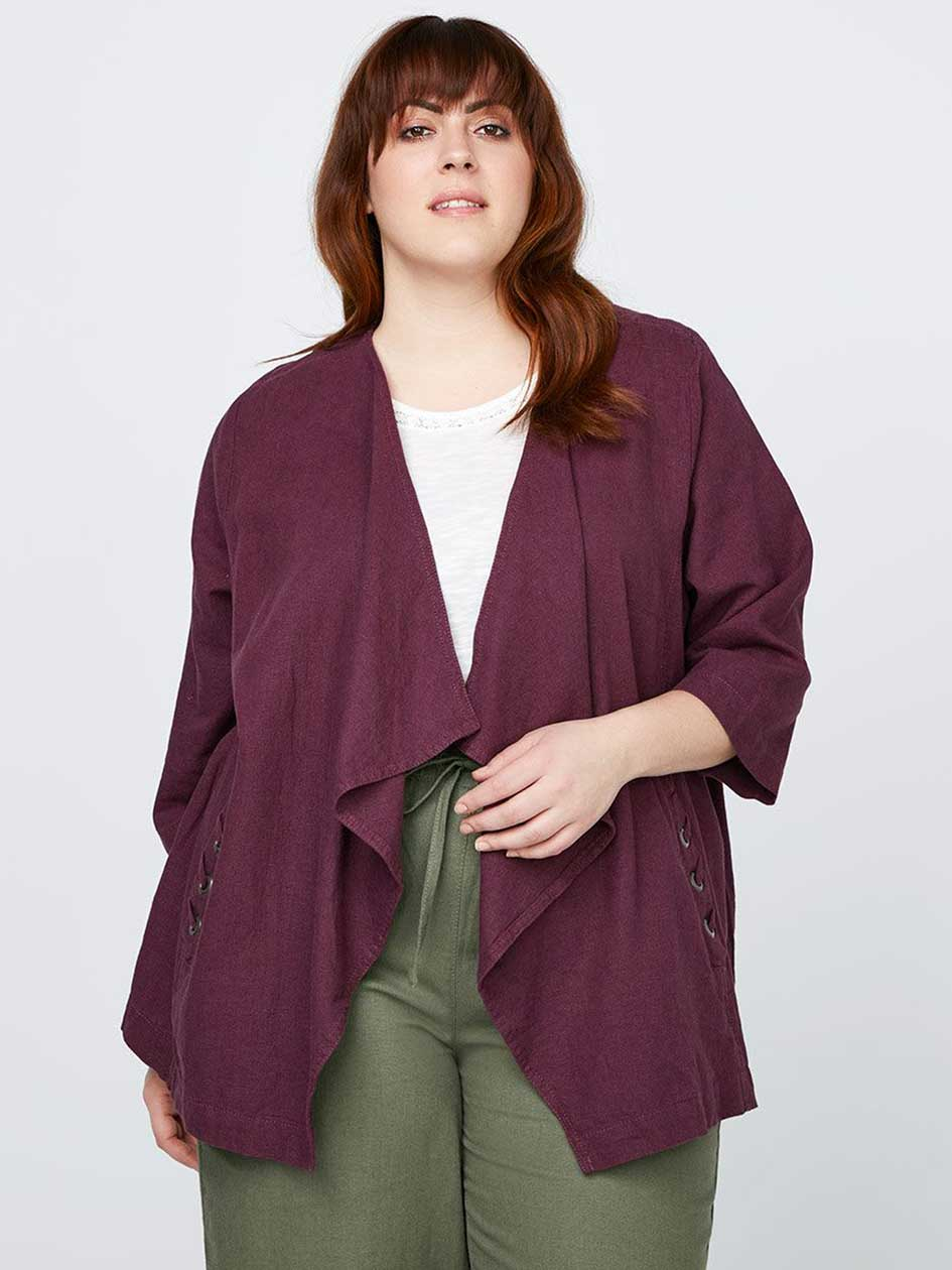 Cascade Linen Jacket with Lace Detail - In Every Story
