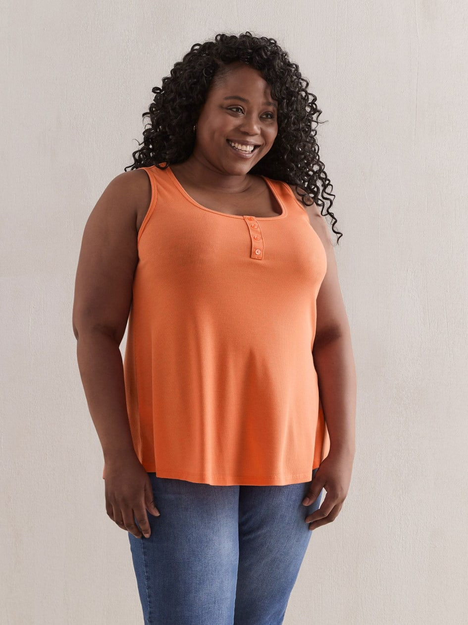 Rib Tank Top With Buttons - In Every Story