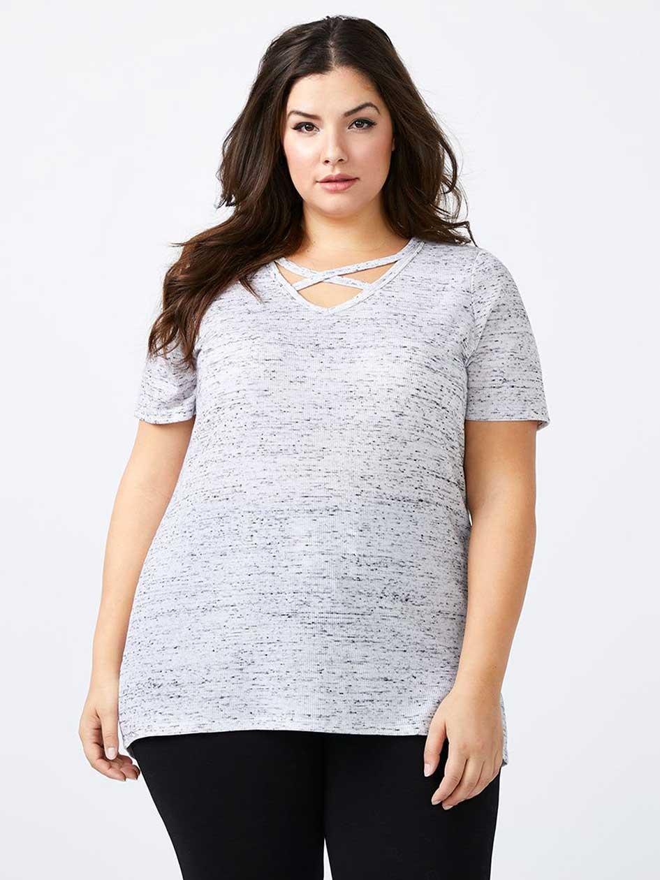 Girlfriend Fit T-Shirt with Criss-Cross Straps - d/c JEANS