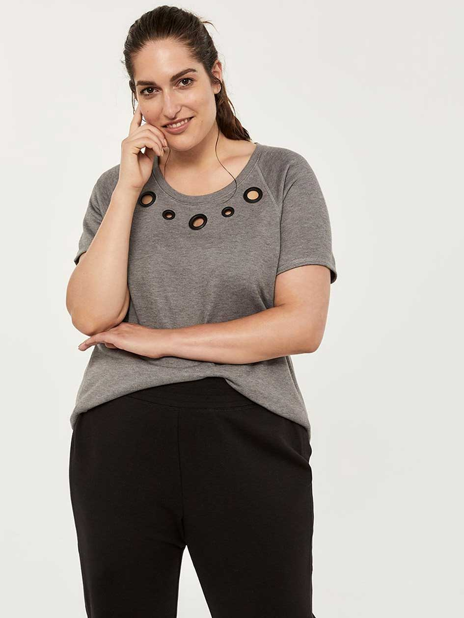 811f01cd1b8 Plus-Size French Terry Top with Eyelet Detail - ActiveZone