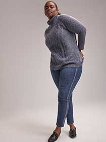 Cable Knit Sweater with Turtle Neck - d/C JEANS