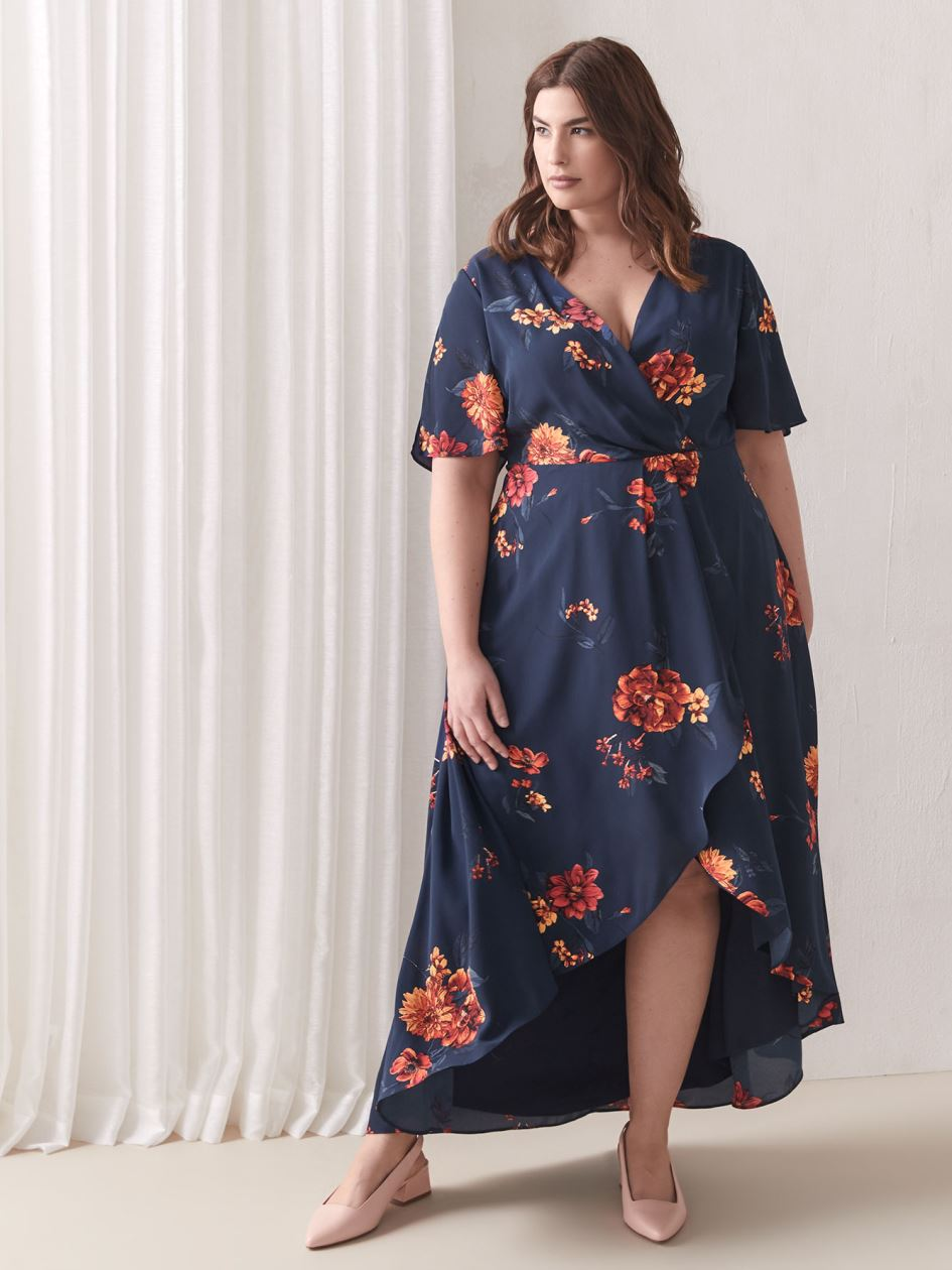 Faux-Wrap Dress with Flutter Hem - Addition Elle