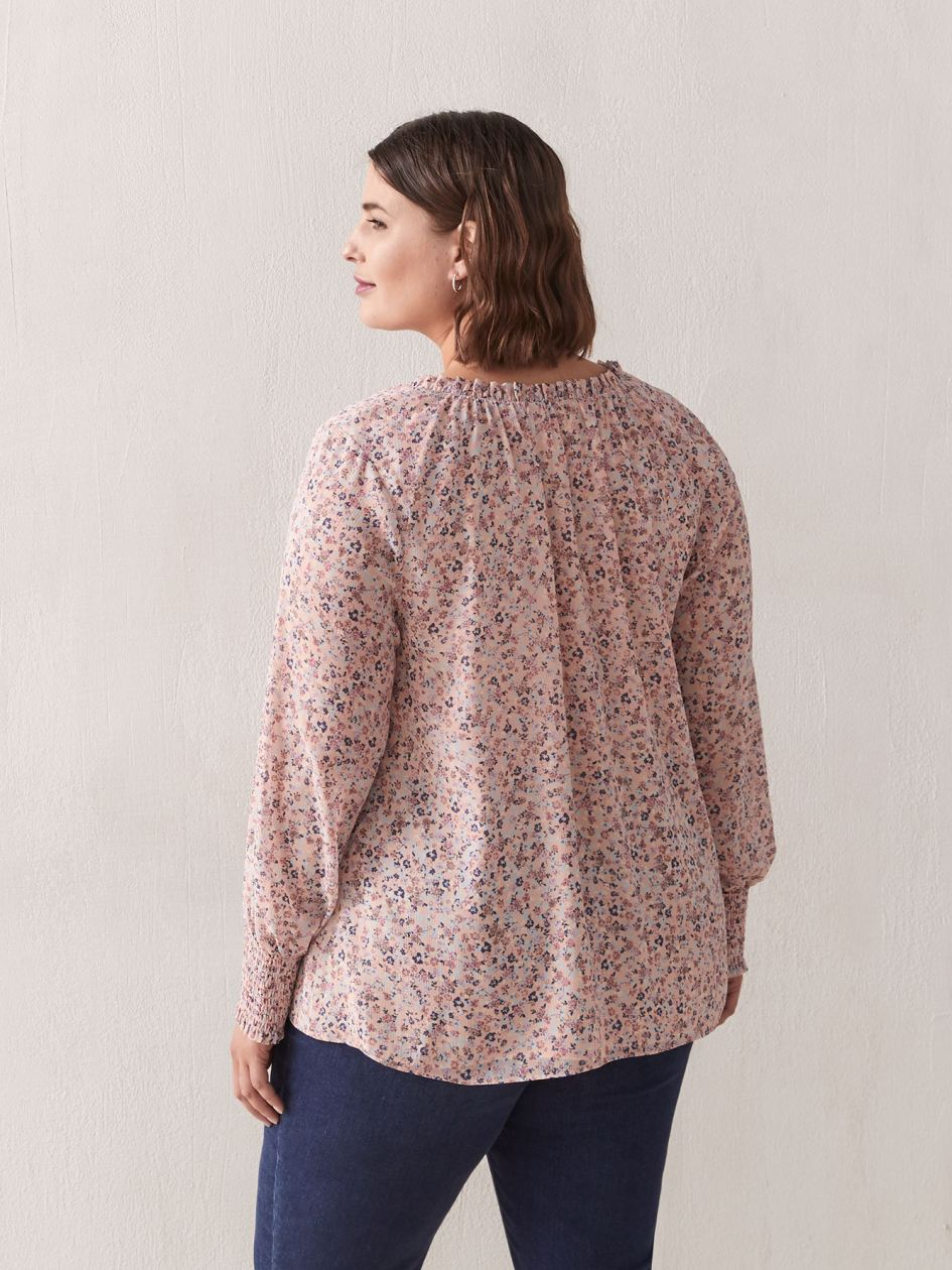 Long-Sleeve Printed Blouse - Addition Elle
