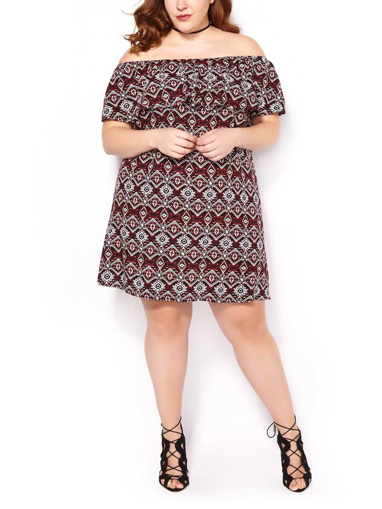 99f3eaab8e81 Printed Off Shoulder Dress